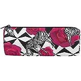 Bolso de lápices Zebra Rose geométrica abstracta, Estuche de lápices Bolso de cremallera Bolígrafo Bolsa de maquillaje Brocha para oficina escolar, 7.7X7.7X20.5Cm