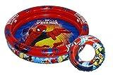 Saica Set Piscina Y Flotador HINCHABLES Spiderman para NIÑOS Y NIÑAS - Medidas Piscina 90 CM DIÁMETRO - Flotador 50 CM DIÁMETRO