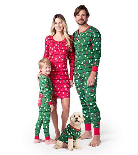 Hatley Little Blue House Baby Family Pajama Set, Dog Union Suit-Holiday Lights, Medium