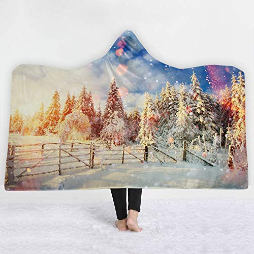 3D Christmas Tree Farm Landschap Snijplank Gedrukt deken, winterwarm, volwassene zachte kap cape, Sherpa deken trein, vliegtuig slaapbank deken voor lezen spelen op afstand 130×150cm
