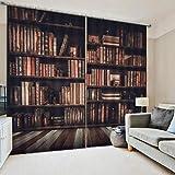 AYNEFY Cortinas opacas vintage con ojales, cortina retro con diseño de estantería europea para dormitorio, salón, habitación infantil (170 x 200 cm)