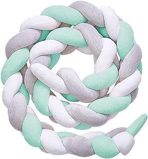 QINGLOU protector de cabeza para cuna trenzado Parachoques nudo largo Almohada para Unisex-adulto (Blanco + verde + gris, 100cm)