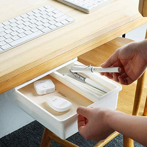 Under Desk Drawer, Self-Adhesive Hidden Storage Box Makeup Organizer, Large Capacity Punch-Free...