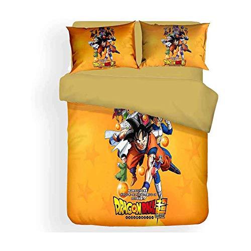 Las Personas Dragonball Z Goku Funda Nórdica De Algodón / Ropa De Cama Para Los Muchachos Adolescentes Super Saiyan 3 PIEZAS Modelo Con Enlaces Zip 1 Funda Nórdica + 2 + 1 Funda De Almohada Hojas,4,C