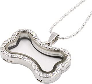 Crystal Dog Bone Shaped Floating Locket Necklace Memory Glass Locket for DIY Floating Charms with Chain