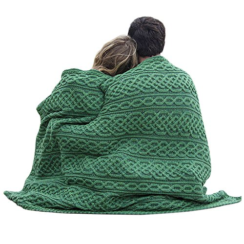 Carraig Donn Irish Cable Knit Blanket Celtic Aran Throw - 100% Merino Wool Made in Ireland - 40'x 55' (102 x 140)(Kiwi/Connemara Green)
