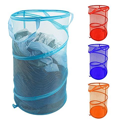 LY-Rack Cesta de lino de malla plegable (juego de 4 colores) – Bandeja de lino sucio plegable, resistente y fácil de abrir con ropa, ropa y juguetes para niños (color 4 unidades)