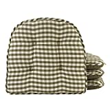 Klear Vu Tufted No Slip Dining Chair Pad Cushion, Set of 4, Gingham Pine