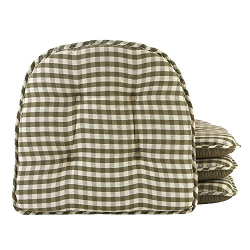 Checkered Black//White Sweet Home Collection Chair Cushion Memory Foam Pads Tufted Slip Non Skid Rubber Back U-Shaped 17 x 16 Seat Cover 6 Pack