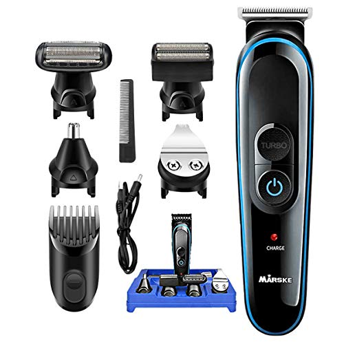 Cortapelos, MS-5010 5 en 1 Multifuncional Maquina Cortar Pelo,Barba/Nariz/Orejas/Corporal con Peines de Guía,2 velocidades, de titanio autoafilables USB Recargable Cortapelos Kit