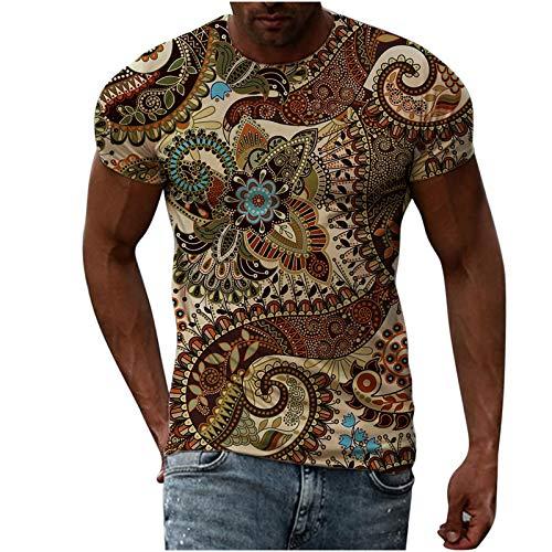 Camiseta Basica Hombre Camisetas para Hombre Camiseta de Hombre con Estampado étnico Retro Hombre Tops Camisa sin Mangas de Verano Fitness Jersey Top Deportivo Casual