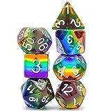 World of Dice Rainbow Pen and Paper - Juego de 7 dados poliedricos para Dungeons and Dragons (D&D), el ojo negro (DSA), Aborea, Splittermond, Shadowrun (multicolor)