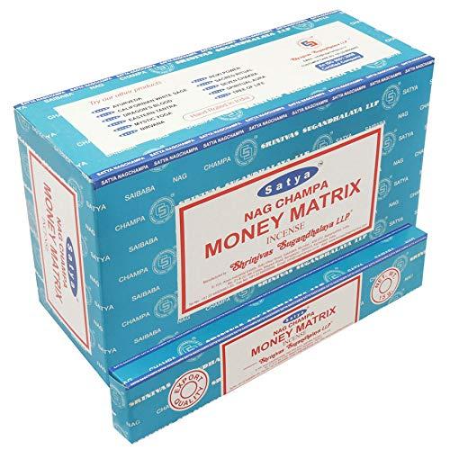 Satya, bastoncini di incenso Nag Champa, confezione da 12, 15g, MONEY MATRIX
