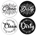 Dishwasher Magnet Clean Dirty Sign Indicator, 2 Pcs 3.5inches Trendy Double Sided Reversible Magnet, Universal Dish Washer Label for Kitchen Organization, White&Black