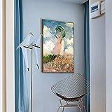 WDZSHJ Bilder Auf Leinwand,Monet Frau Mit Sonnenschirm Drucken Moderner Wand Art Poster Leinwand Gemälde Für Wohnzimmer Schlafzimmer Bar, Restaurant Shop Home Decor Malerei, 40 X 60 cm...