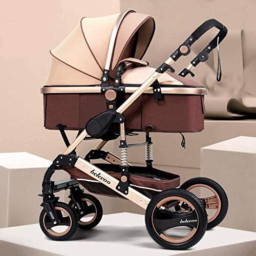 Landaus High View Poussette bébé, Poussette Buggy Compact, Portable Pram Transport Anti-Choc en Aluminium Poussette Fournitures pour bébé ( Color : Brown )