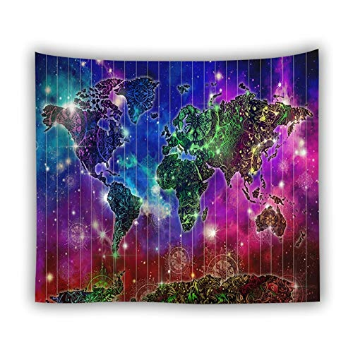 KHKJ Tapiz de Pared de Galaxia Brillante Mapa del Mundo Paisaje Decoración Bohemia Tapiz de Pared Mandala Art Retro Decoración del hogar Manta A3 95x73cm