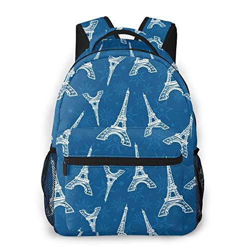 School Bag,Blaue Paris Türme Und Blumen Kinder Schultaschen Tagesrucksack, Tolle Rucksäcke Zum Klettern Reisen,40cm(H) x29cm(W)