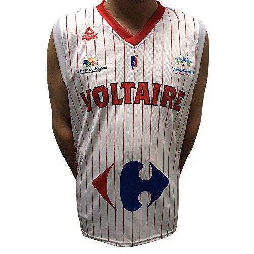 PEAK Denain Voltaire Réplica 2017-2018 - Camiseta de Baloncesto para Hombre, Hombre, Color Blanco, tamaño FR : XXS (Taille Fabricant : 12 ANS)
