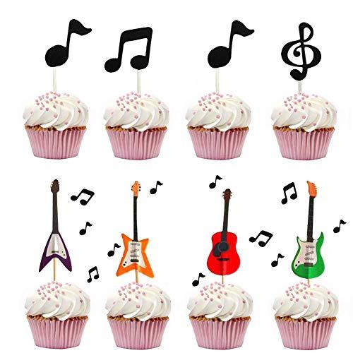 Senmil - Decoración para Tarta de Guitarra, diseño de Notas Musicales para niños, Fiesta de cumpleaños, temática para Baby Shower (30 Conjuntos)
