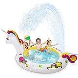 Jojoin Piscina Inflable Unicornio, Fuente de natación Multifuncional, Spray de Cola, Exquisita Forma de Unicornio y Patrón, Fiesta en La Piscina al Aire Libre en La Playa de Verano 230 * 126 * 106 Cm