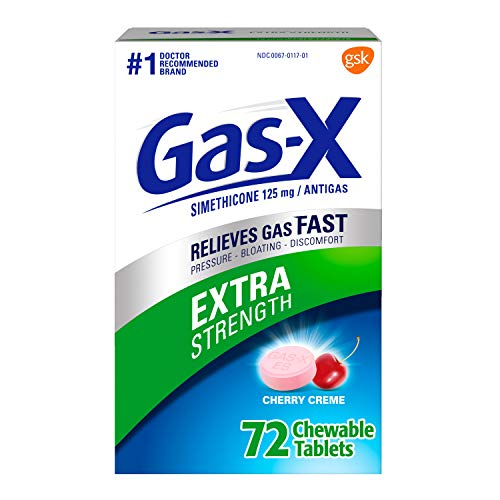 Gas-X Extra Strength Cherry Chewable Tablet for Fast Relief from Gas, Bloating and Discomfort, 72 count