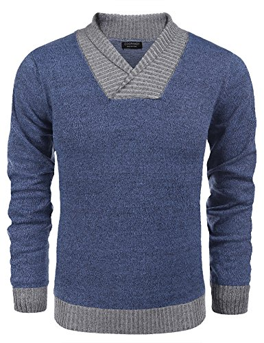Coofandy Men's Knitted Sweaters Casual V-neck Slim Fit Pullover Knitwear,Blue,Medium