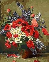DIY 数字 油絵 塗り絵 キット 大人 子ども 塗り絵 カラフルな花 デジタル油絵 手塗り 数字キットによる絵画 絵かき インテリア 壁飾り ホームデコレーション 40x50cm(額縁なし)