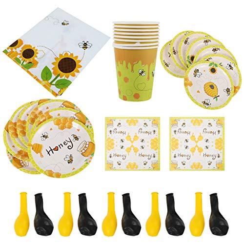 Amosfun - Juego de 16 platos de papel de abeja, 20 servilletas, 20 globos, 1 mantel, 8 tazas, vajilla de abejas para cumpleaños de bebé (65 unidades)