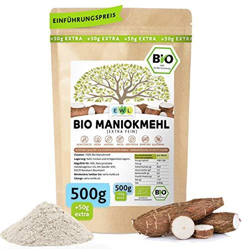 Maniokmehl Bio Cassava Mehl │500g + 50g extra Vorteilspack 550g│Paleo, Glutenfreies Mehl, Vegan, keine Gentechnik, kontrollierte Bio Qualität│kontrolliert und abgefüllt in Deutschland