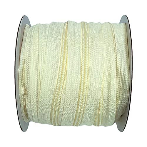 1 rotoli da 25 m #5 cerniere continue in nylon, con 10 cursori liberi in metallo, per cucito, borse fai da te, tende da campeggio, 25 m x 32 mm (103)