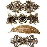 4 horquillas de metal vintage francés para el pelo, diseño retro de rosas y plumas, color bronce, accesorios para el pelo para las mujeres