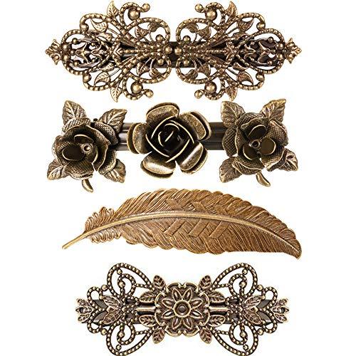 4 Stücke Vintage Metall Französisch Haarspangen Retro Rose Blume Feder Bronze Haarspangen Haarnadeln Bronze Haarschmuck Für Frauen