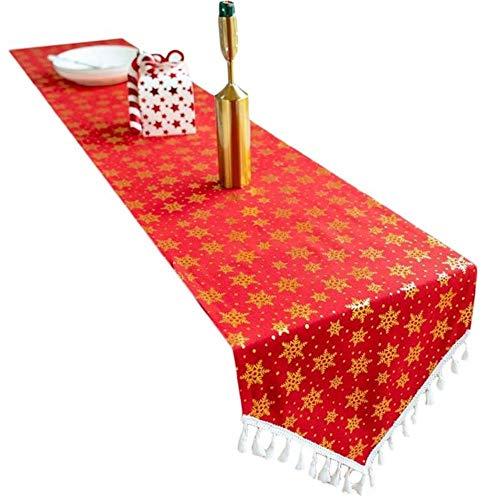 Coner kerst tafelloper reliëf patroon kwasten dressoir sjaal tafel decoratie eettafel decor, sneeuwvlok