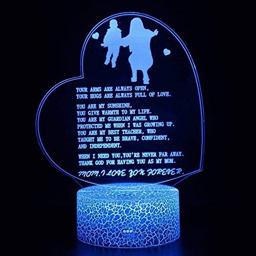 Luz de noche 3D Luz de humor para niños Luz de cabecera Luz de colores cambiantes Control remoto Regalo de vacaciones Luz - Madre e hijo