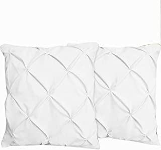 Crown Collection Pinch Plated/Pintuck Pillow Shams Set of 2pcs - Luxury 600-TC100% Egyptian Cotton Cushion Cover Euro Size Decorative Pillow Cover Tailored European Pillow Sham (Euro 28x28, White)