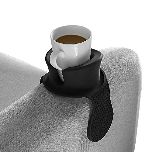 Sofa Cup Holder - Watruer The Ultimate Anti-Spill Couch Coaster Holder Food Grade Silicone Drink Holder for Your Sofa or Couch - Black