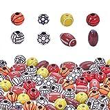 PandaHall 320pcs Perles de Balle de Sport en Plastique, Bracelet Perles Basket-Ball Volley-Ball Football Rugby pour Bijoux Bracelet Collier, Porte-clés, Fans de Sport