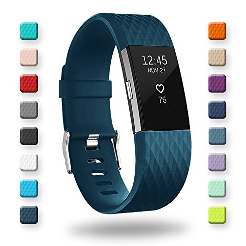 POY Replacement Bands Compatible for Fitbit Charge 2, Special Edition Adjustable Sport Wristbands, Large Dark Blue