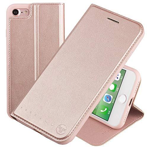Nouske iPhone 7 iPhone 8 4.7 Zoll Stand Hülle Etui with Karte Halterung Leder Wallet Klapphülle Flip Book Case TPU Cover Bumper Tasche Ultra Slim, Rose Gold
