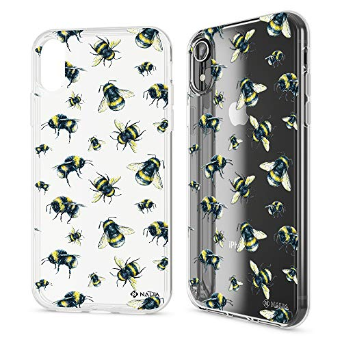 NALIA Motif Case Compatible with iPhone XR, Pattern Design Silicone Back Cover Protector Soft Skin, Crystal Gel Shockproof Smart-Phone Bumper Slim Transparent Protective, Designs:Bumblebee