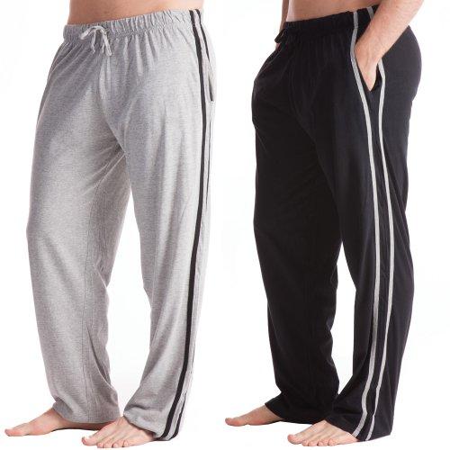 2 Pack Medium Heren Lange Lounge Broek Casual Draag Pyjama Broek Zwart & Grijs