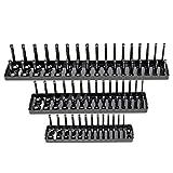 Cutogain 3Pcs 90 Sockets Metric/SAE Magnetic Socket Holder Tray Drive Direct Rail Rack Toolbox
