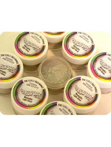 Rainbow Dust Essbare Puderfarben Lebensmittelfarbe, Metallic Puder - Licht Silber