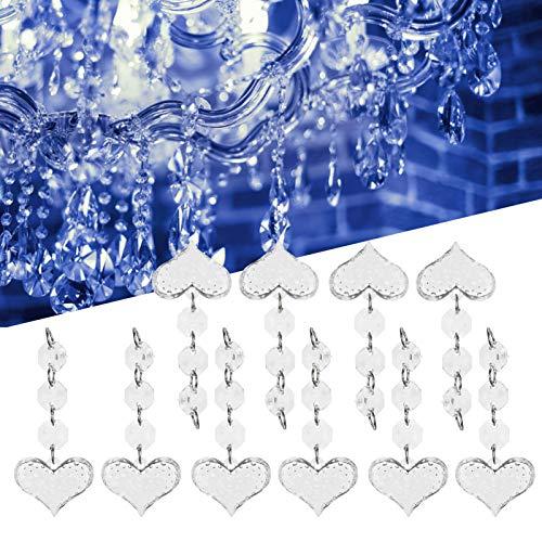 Fdit Lámpara Colgante, Colgante de Cristal Accesorios de decoración de iluminación Accesorios en Forma de corazón Decoración de lámpara para Bricolaje para Fiestas y jarrones