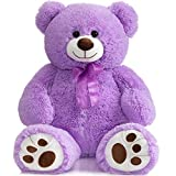 HollyHOME Teddy Bear Stuffed Animal Plush Giant Teddy Bearswith Footprints Big Bear 36 inch Purple