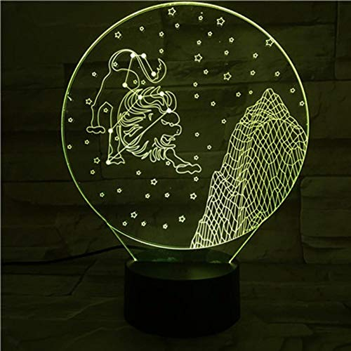Yujzpl 3D-illusielamp Led-nachtlampje, USB-aangedreven 7 kleuren Knipperende aanraakschakelaar Slaapkamer Decoratie Verlichting voor kinderen Kerstcadeau-Sterrenbeeld Leeuw