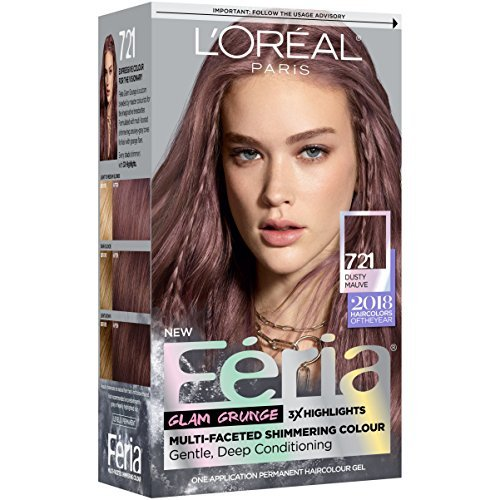 L'Oreal Paris Feria Multi-Faceted Shimmering Permanent Hair Color, 721 Dark Mauve Blonde, 1 kit Hair Dye