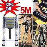 5M Telescopic Extendable Ladder Soft Close Anti Pinch Finger Protection-Aluminum Lightweight-150kg/330lbs Max. Load-Portable Loft Stragiht Ladder