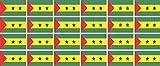 Mini Aufkleber Set - Pack glatt - 33x20mm - Sticker - sao tome and principe - Flagge - Banner - Standarte fürs Auto, Büro, zu Hause & die Schule - 24 Stück